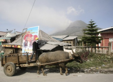 A villager rides a buffalo cart with a backdrop of Mount Sinabung, in Karo, North Sumatra, Indonesia