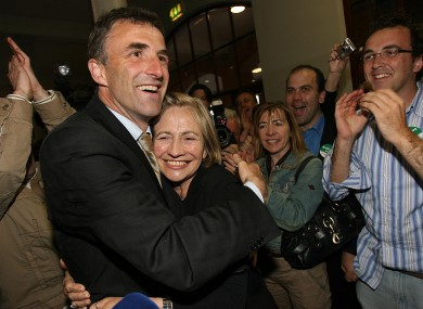 Fianna Fáil's Chris Andrews celebrates winning his Dáil seat in 2007. Andrews believes his party should seek a merger with Fine Gael.