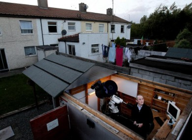 Dave Grennan in his home observatory in Raheny, complete with sliding roof, from where he made the first disovery of a supernova in Irish astronomy