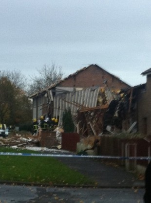 Emergency services at the scene of this morning's gas explosion in Irlam.