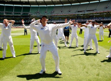 England's Graeme Swann leads the celebrations after the fourth test at the MCG.