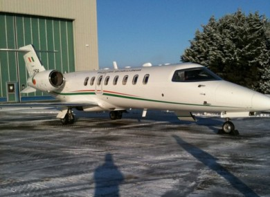 The government Learjet was used to fly a two-year old child to London for an organ transplant today.