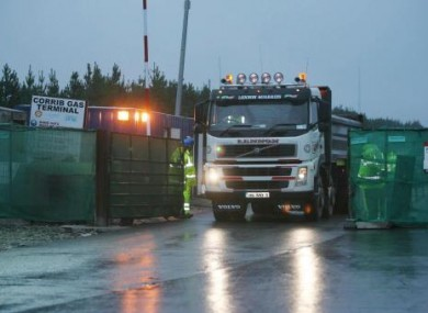 A truck leaves the Corrib gas terminal site in Bellanboy, Co Mayo.