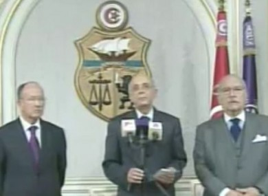 Tunisia's prime minister Mohamed Ghannouchi appears on Tunisia's TV7 to announce that he was assuming the powers of president Ben Ali.