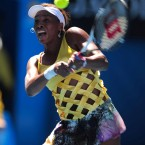 Williams rocked up to the Rod Laver complex in the now-infamous hot-cross bun dress this morning.