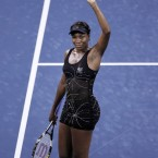 Williams reacts after winning her match against Mandy Minella of Luxembourg in Queens last September. <span class=