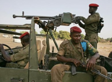 Central African Republic troops at the town of Bele. Photo: 2007