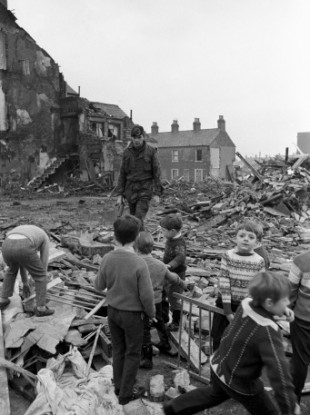 The debris of McGurk's bar in North Queen Street, Belfast, where 15 people died when a bomb blast reduced the building to a heap of rubble.