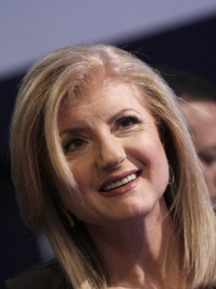 Co-Founder and Editor-in-Chief, Huffington Post, USA, Arianna Huffington listens during a session at the World Economic Forum in Davos