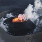 The lava dome of Shinmoedake rising on the evening of 31 January 2011. (The Yomiuri Shimbun via AP Images)