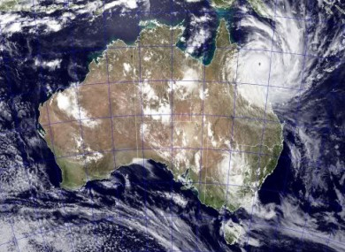 NASA's satellite image shows Cyclone Yasi approaching the coast of Queensland today.