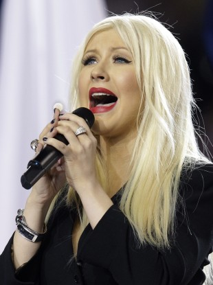 Christina Aguilera singing the US national anthem at the Super Bowl in Dallas last night.
