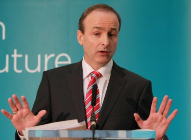 Micheál Martin launching his party's election manifesto on 7 February.