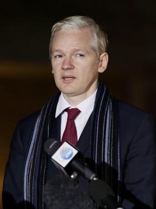 Julian Assange outside court on Tuesday