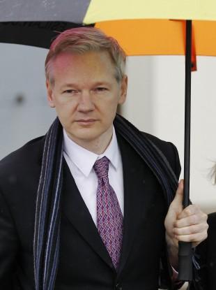 Julian Assange arrives at court today