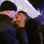 Couples share a tender moment during a flash mob to mark Valentine's Day in St.Petersburg, Russia. (AP Photo/Dmitry Lovetsky)