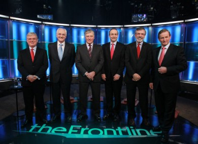 Micheál Martin and Gerry Adams line out with three other party leaders for last night's televised debate.
