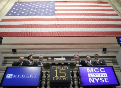 Executives from Medley Capital Corporation attend the opening bell at the NYSE this morning.