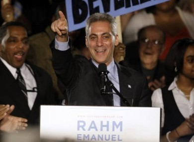Rahm Emanuel speaks at his election night party last night in Chicago.