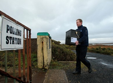 The ballot boxes were brought to Inishbiggle on Wednesday.