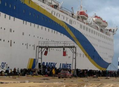 People leaving Libya by boat from Benghazi