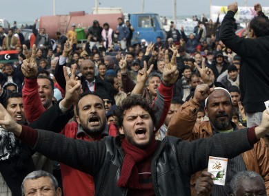 Protesters in Benghazi, Libya on Friday