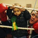 Little Billy Kelleher helps his dad, Fianna Fail candidate Billy Kelleher Snr, do the rounds at the Glen Boxing Club in Cork city.<span class=