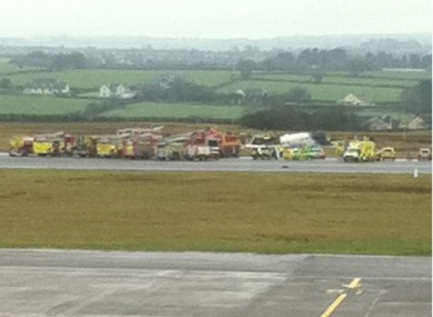 Fire engines at Cork Airport this morning