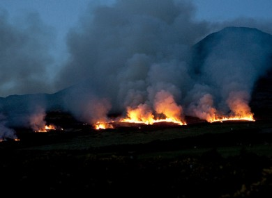 A fire at the Sugarloaf Mountain in Co Wicklow in April last year