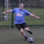 Sinn Fein TD Aengus O Snodaigh shows off his fancy footwork at the same charity football match on Wednesday.<span class=