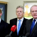 Martin McGuinness, far right, said this morning at Belfast Airport that he had almost booked a seat on the Manx2 flight which crashed this morning. He is picture with Brian Ambrose, CEO of Belfast City Airport, and Northern Ireland First Minister Peter Robinson.<span class=