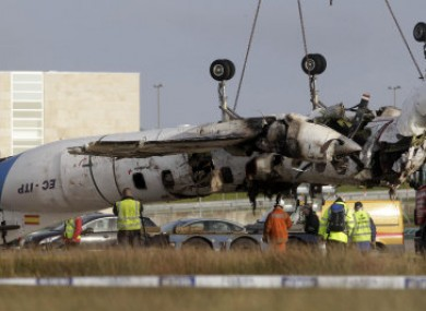 The wreckage of the Manx2 plane on 11 February, 2011.