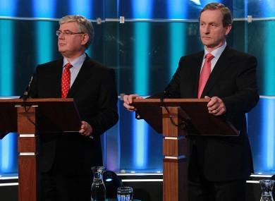 Party leaders Eamon Gilmore and Enda Kenny
