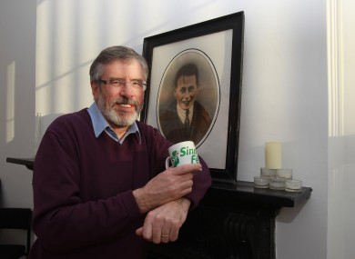 Gerry Adams on Sunday following his election as a TD