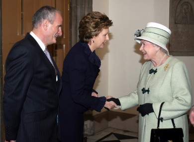 Queen Elizabeth meets President Mary McAleese, and her husband Martin, in 2008: the Queen is likely to visit Ireland in May of this year.