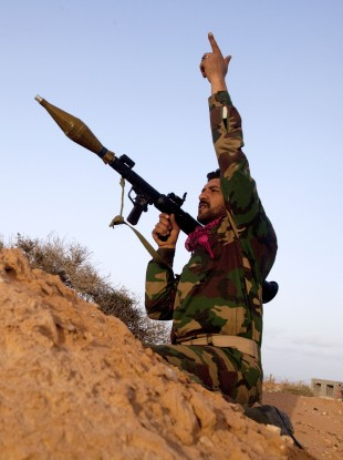 A Libyan rebel in in the east of the country on Saturday
