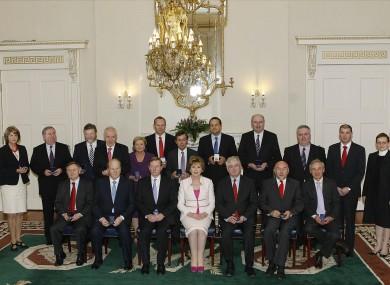 The new ministers at Áras an Uachtarain yesterday