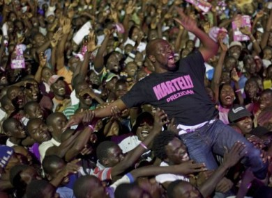 Wyclef Jean performing at a campaign rally for Haitian presidential candidat