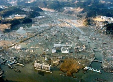 The coastal town of Minamisanriku, which lies around 55 miles away from the main epicentre, and where up to 10,000 people are missing.