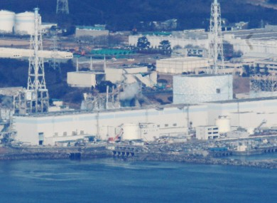 An aerial photograph of the Fukushima I plant, taken while engineers