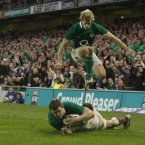 Ireland's Brian O'Driscoll scores his record-breaking 25th championship try.
