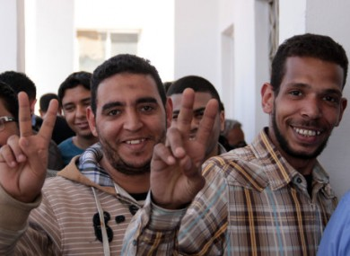 Egyptian voters at a polling station in Cairo yesterday.