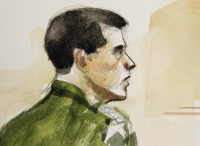 Courtroom sketch made yesterday of Jeremy Morlock in an Alaska courtroom.