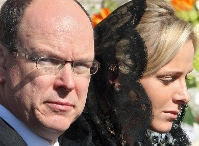 Prince Albert II of Monaco, pictured with his fiance Charlene Wittstock at the funeral of Albert's aunt Antoinette last week.