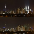 These two combo photos show Malaysia's landmark Petronas Twin Towers, right, and KL Tower, left, being turned off the lights to mark Earth Hour in Kuala Lumpur, Malaysia, Saturday, March 26, 2011. (AP Photo/Lai Seng Sin)
