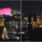 A combination picture show the Hogalid church (left) and the Ericsson Globe arena (right) before and during (right picture) the Earth Hour in Stockholm, Sweden, March 26, 2011. During Earth Hour people around the world turn off the electric lights for an hour from 2030 hours to focus on climate problems. (AP Photo / Johan Nilsson / SCANPIX)