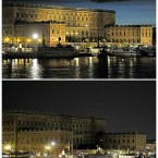 A combination picture show the Royal Palace before and during (picture below) the Earth Hour in Stockholm, Sweden, March 26, 2011. During Earth Hour people around the world turn off the electric lights for an hour from 2030 hours to focus on climate problems. (AP Photo / Erik MÃ¥rtensson / SCANPIX)