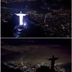 COMBO - This two-picture combo shows an aerial view of the iconic Christ the Redeemer statue before and after the lights that illuminate the statue are switched off to observe an hour of voluntary darkness for the global