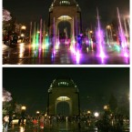 COMBO - This two-picture combo shows the Monument of the Revolution before and after the lights that illuminate the plaza are switched off to observe an hour of voluntary darkness for the global