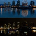 In this two photo combination, a harbour cruise sails past the geodesic dome of Science World on False Creek before Earth Hour, top, and during Earth Hour after its lights were turned off in Vancouver, Canada, on Saturday March 26, 2011. People around the world are turning off their lights for an hour Saturday night to reduce energy consumption and bring awareness to climate change. (AP Photo/The Canadian Press - Darryl Dyck)